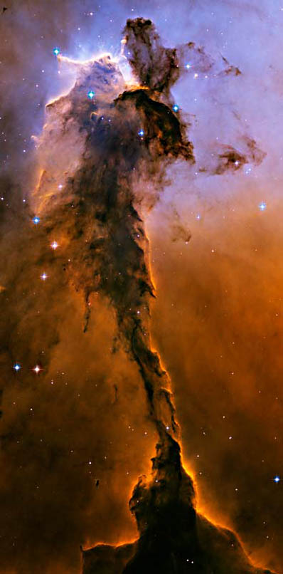 Could this Eagle Nebula image by the Hubble Space Telescope be an illustration of a cosmic magnetic pinch and resultant dusty plasma surrounded by a hydrogen-helium environment?
