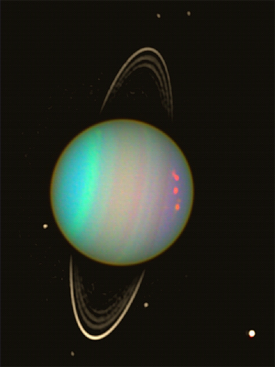 Uranus with a few of its moons