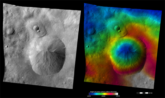 Albedo and elevation images for Oppia crater on Vesta
