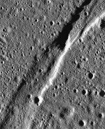 A portion of the Rimae Burg graben on the Moon
