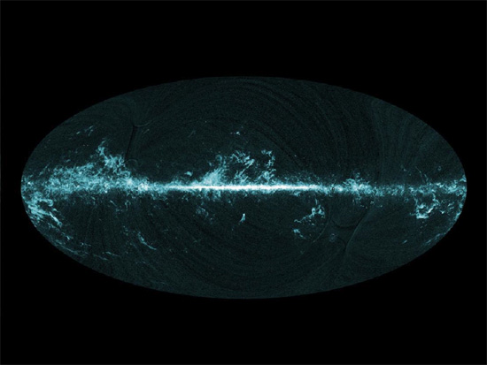 Planck image showing carbon monoxide distribution in the galactic plane