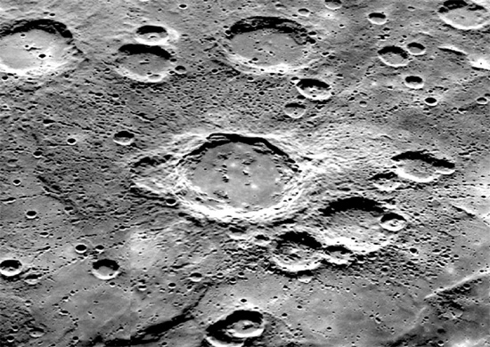 Firdousi, a rampart crater (center) on Mercury