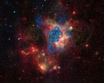 A superbubble in the gas (or is it plasma?) of the Large Magellanic Cloud, a satellite galaxy (or is it a plasma discharge fragment?) of the Milky Way.  Credit: X-ray: NASA/CXC/U.Mich./S.Oey, IR: NASA/JPL, Optical: ESO/WFI/2.2-m