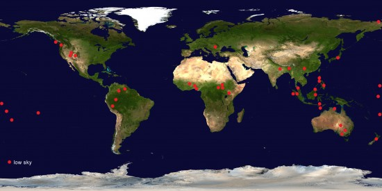 Global distribution of cultures with traditions of a 'low sky'. Additional examples continue to be registered. © Marinus Anthony van der Sluijs