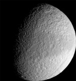 A faint band of color on Saturn&#039;s moon Tethys. Credit: NASA/JPL/Space Science Institute.
