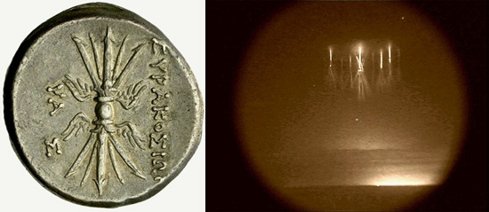 (Left): The Classic image of the winged thunderbolt as shown on the reverse of an 8-litra coin from Syracuse, Sicily, Italy (214-212 BCE). (Right): Sprites over thunderstorms in Kansas, August 10, 2000, observed in the mesosphere, approximately 50 to 90 kilometers above the surface. Their true colour is pink-red. © Walter Lyons, FMA Research, Fort Collins, Colorado, United States of America/NASA
