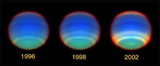 Seasonal changes on Neptune. Each season lasts 40 years. Image credit: L. Sromovsky, P.Fry (University of Wisconsin), and NASA.