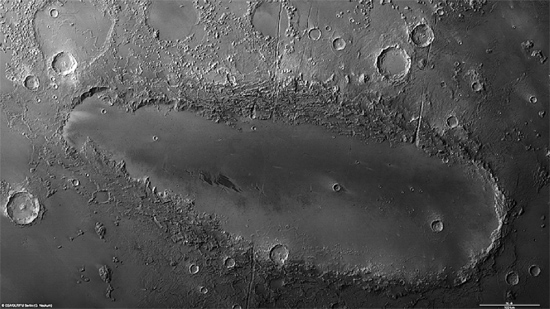Elongated crater formation on Mars