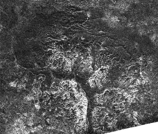 Canyons in Titan's southern latitudes