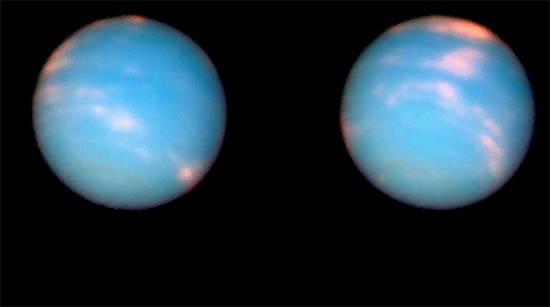 Neptune's clouds in false color