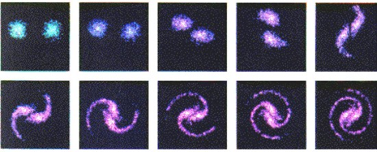 Supercomputer simulation of spiral galaxy formation by Anthony Peratt