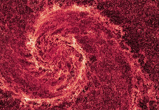 Detailed infrared image of electrically charged dust in M51, The Whirlpool Galaxy