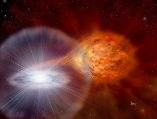 "Artist's impression of a so-called ""cataclysmic variable stellar pair,"" or ""nova."""