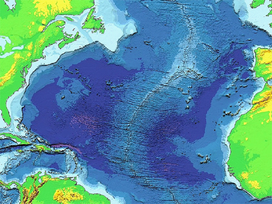 An elevation map of the Mid-Atlantic ridge