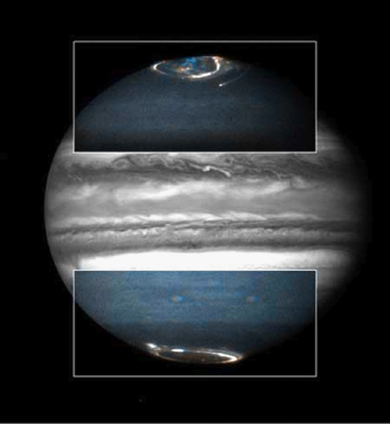 Combined Hubble camera images of Jupiter's polar aurorae
