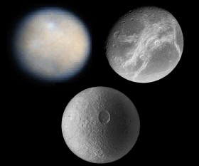 (Top) Ceres and Dione. (Bottom) Tethys. Credit: NASA/JPL