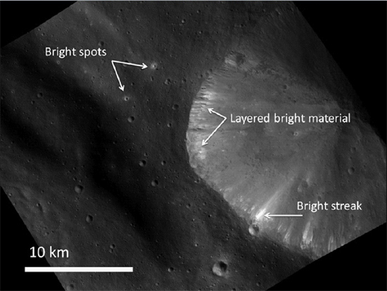 Reflective spots and streaks on Vesta