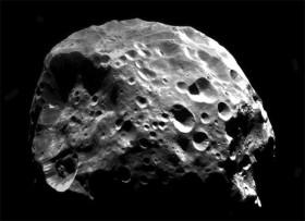 Coal-black Phoebe. Credit: NASA/JPL/Space Science Institute