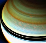 A strong jet stream in Saturn's atmosphere (upper center, right). Credit: NASA/JPL-Caltech/SSI