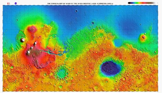Topographic map of Mars. Credit: Mars Orbiter Laser Altimeter (MOLA)