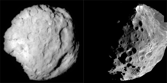 The surface of Comet Wild 2 (left). Saturn's moon Phoebe (right). Credit: NASA/JPL