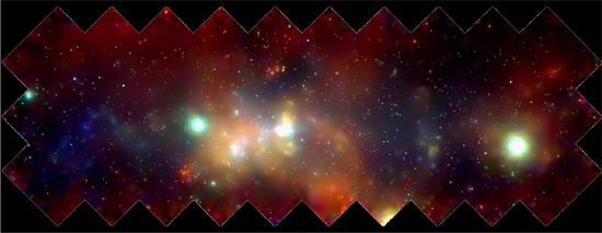 The center of the Milky Way in multiple wavelengths. Low X-ray bands in blue,