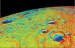 A temperature map of Mercury's north pole calculated from MESSENGER data. Credit: NASA/UCLA/JHUAPL/Carnegie Institution of Washington
