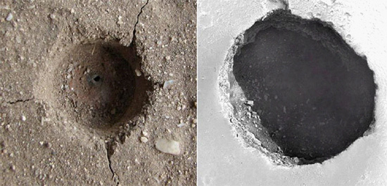 "Left: 3mm crater electrically etched in sandstone. Credit: C. J. Ransom, VEMASAT Labs.Right: 150 meter Martian ""skylight"". Original image credit: NASA/JPL/University of Arizona"