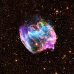 Supernova remnant W49B. X-ray in blue and green, radio in pink, optical in yellow. Credit: X-ray: NASA/CXC/MIT/L.Lopez et al.; Infrared: Palomar; Radio: NSF/NRAO/VLA