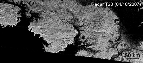Canyons in Titan's north polar region. Credit: NASA/JPL
