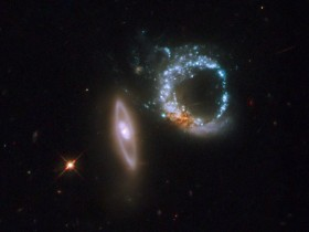 Interacting ring galaxies designated as Arp 147. Credit: NASA, ESA, and M. Livio (STScI)