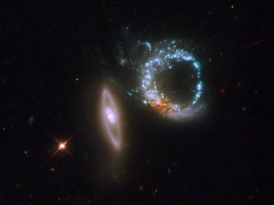 Interacting ring galaxies designated as Arp 147. Credit: NASA, ESA, and M. Livio (STScI)