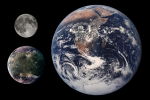 Ganymede's size in comparison with Earth and the MoonCredit: NASA/JPL
