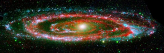 The Andromeda Galaxy (M31) in ultraviolet and infrared. UV: Galaxy Evolution Explorer; Infrared: Spitzer Space Telescope. Credit: NASA/JPL-Caltech