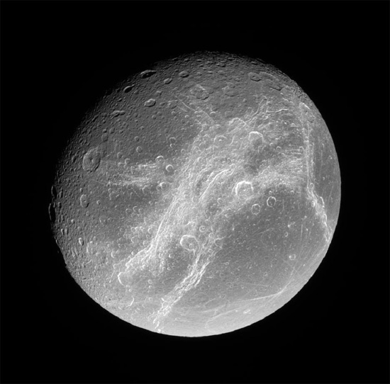 Saturn's moon Dione. Credit: NASA/JPL/Space Science Institute