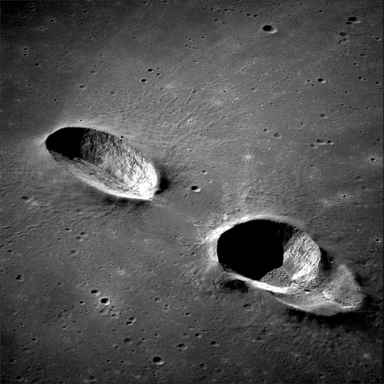 Messier crater (left) and Messier A from Apollo 11. Credit: Lunar and Planetary Institute.