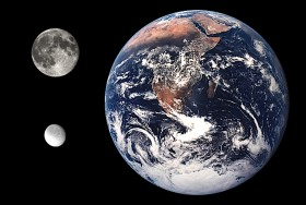 Rhea compared to Earth and the Moon.