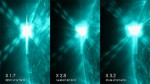 Three X-class solar flares in one day. Credit: NASA/SDO