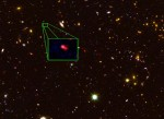 Putative most distant object in the visible Universe, labeled z8_GND_5296. Credit: V. Tilvi, S.L. Finkelstein, C. Papovich, A. Koekemoer, CANDELS, and STSCI/NASA.