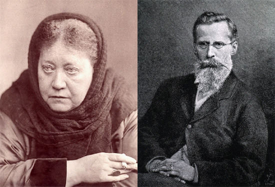 (L) Helena Petrovna Blavatsky (London, 1889). (R) Sir William Crookes. Courtesy U.S. National Library of Medicine, Bethesda, Maryland.