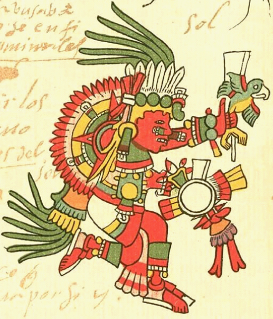 Tonatiuh, the Aztec Sun god, who wavered upon his first rising until bloody sacrifices were made. From the Codex Telleriano-Remensis (16th Century).