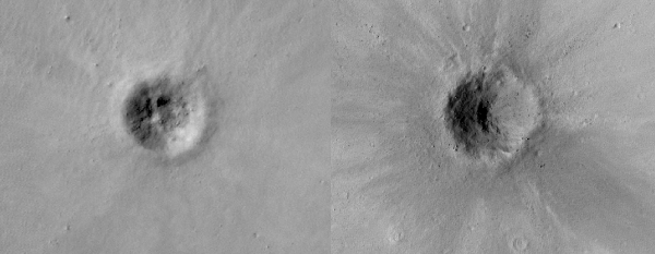 New craters on Mars. Credit: NASA/JPL/Malin Space Science Systems