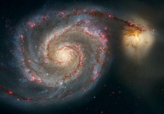 M51 (NGC 5194), the Whirlpool Galaxy and its companion M51b (NGC 5195). Credit: NASA/ESA