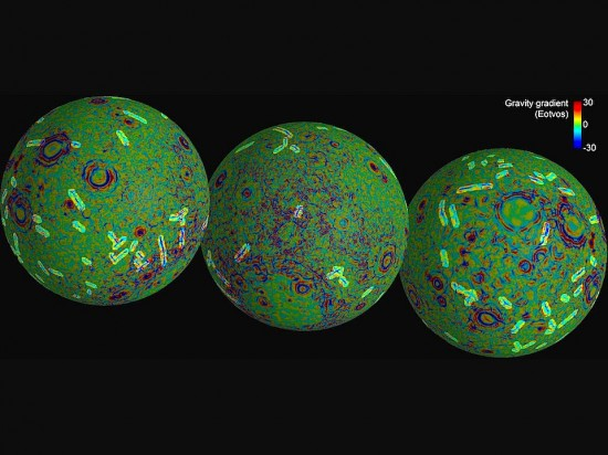 Gravity anomaly map of the Moon. Credit: NASA/JPL-Caltech/CSM
