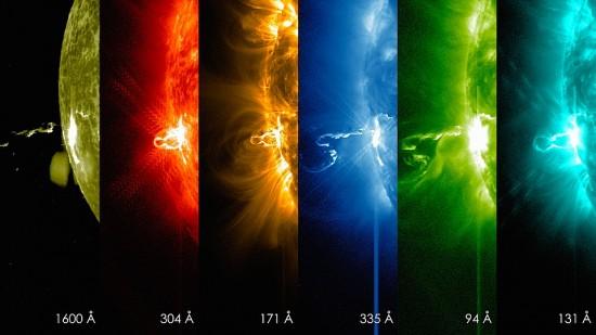 An X4.9 solar flare on February 24, 2014 in multiple light wavelengths. Credit: SDO/NASA Goddard's Scientific Visualization Studio.