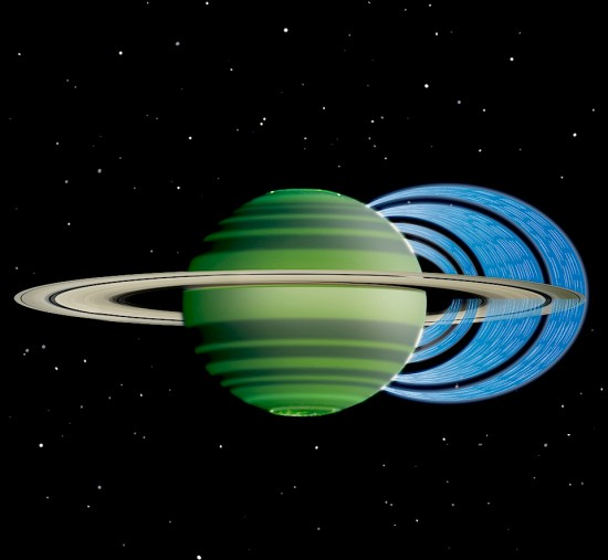 Artist conception of charged water molecules interacting with Saturn's ionosphere. Credit: NASA/JPL-Caltech/Space Science Institute/University of Leicester.