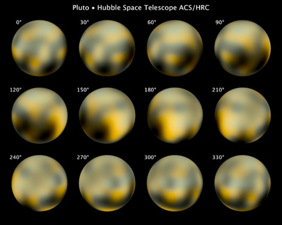 Computer generated images of Pluto, based on Hubble Space Telescope data. Credit: NASA, ESA, and M. Buie (Southwest Research Institute)