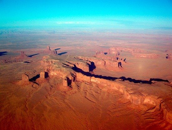 An aerial view of Monument Valley.