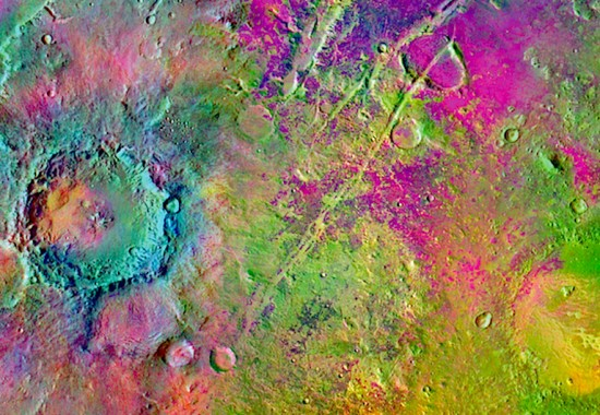 Olivine deposits (magenta) near Syrtis Major, Mars. Credit: Mars Odyssey Thermal Emission Imaging System (THEMIS), NASA/JPL/ASU.