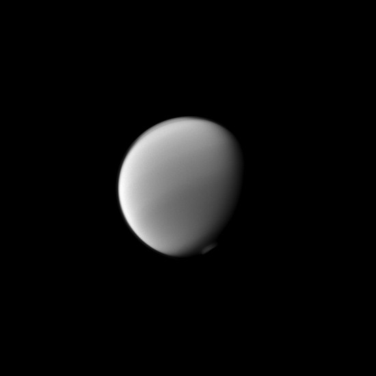 Titan's south polar vortex is visible in this image from Cassini's closest flyby. Credit: NASA/JPL